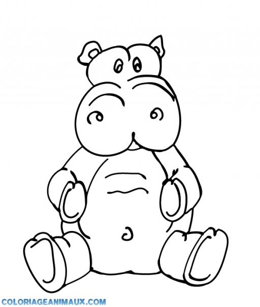 Coloriage Bebe Hippopotame.Coloriage Bebe Hippopotame Tout Triste A Imprimer