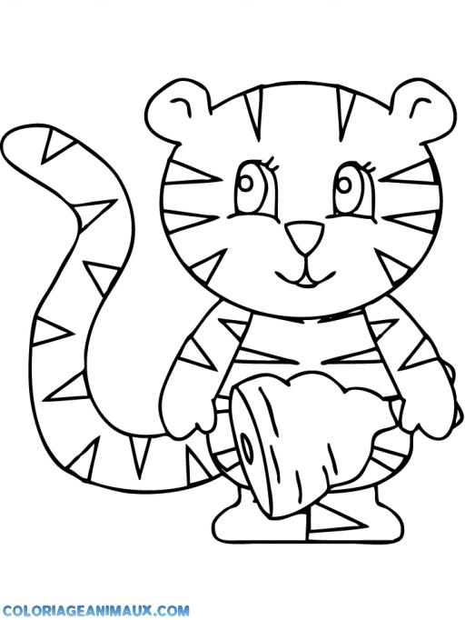 coloriage bébé tigre qui vient de manger pour enfants