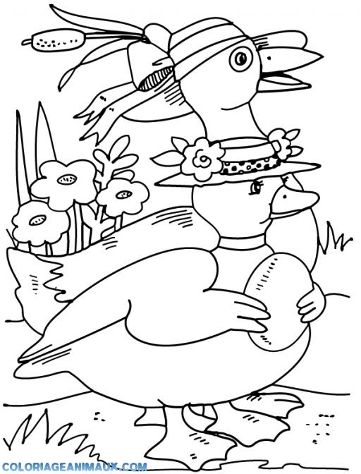 coloriage canard avec de beaux chapeaux pour enfants