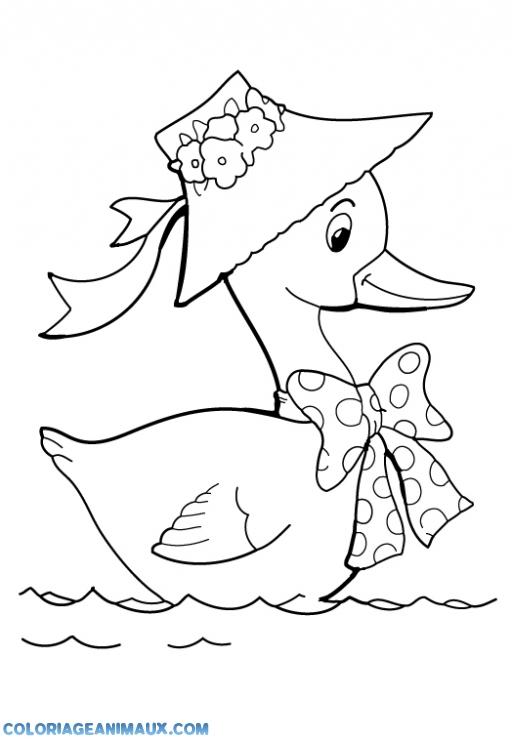 coloriage canard qui nage dans l'eau pour enfants