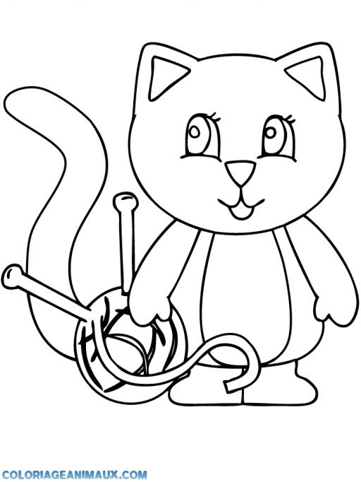 coloriage chat qui joue avec une pelotte de laine pour enfants