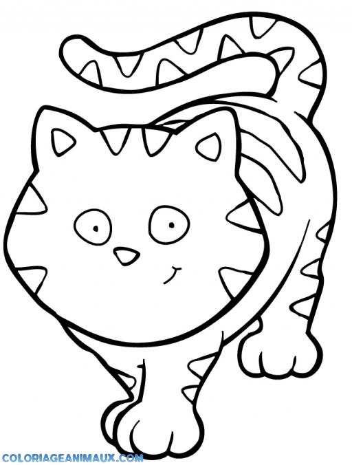 coloriage chat qui te regarde dans les yeux pour enfants