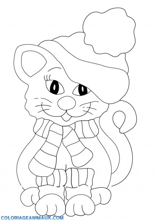 Coloriage chaton avec un bonnet imprimer - Coloriages chatons ...