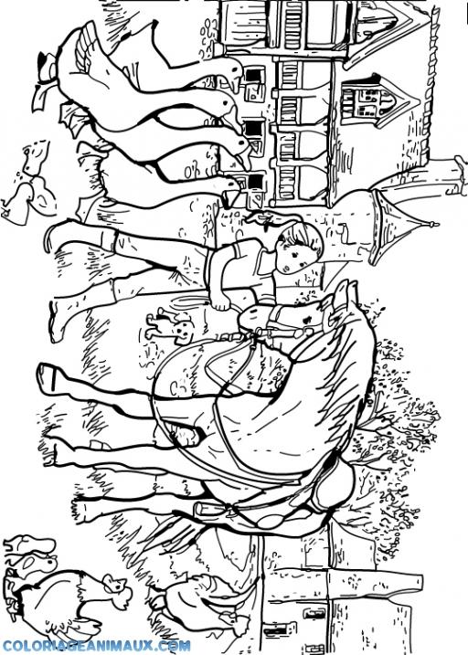 Coloriage Cheval Dans La Ferme D Animaux à Imprimer