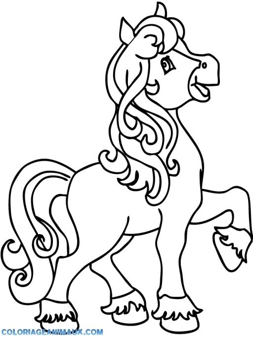 Coloriage cheval pour les filles imprimer - Dessin facile de cheval ...