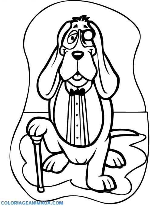 coloriage chien avec sa canne pour enfants