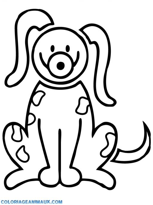 coloriage chien content avec une drole de tête pour enfants