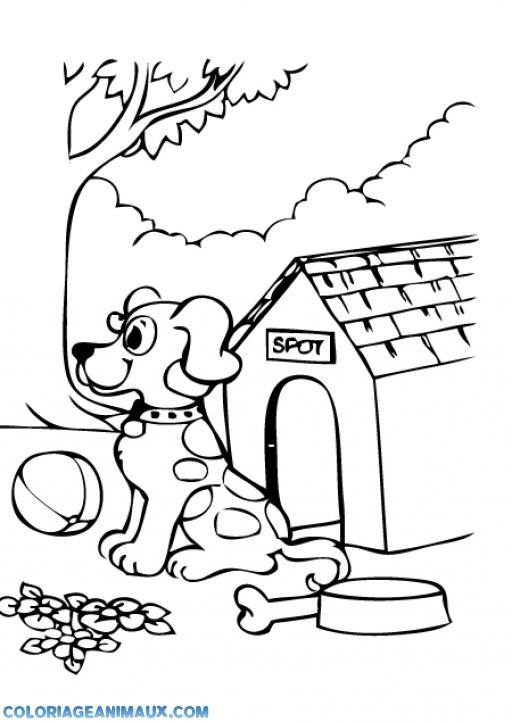 coloriage chien devant sa niche pour enfants