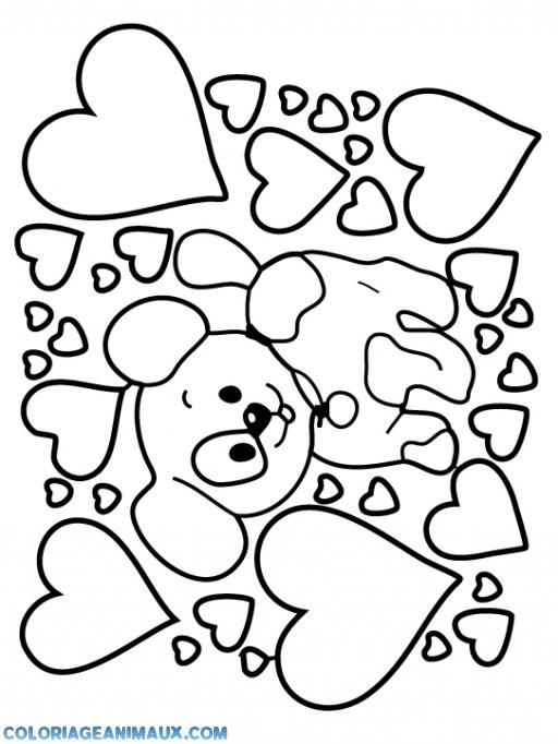 Coloriage En Chien.Coloriage Chien Entoure De Coeurs A Imprimer
