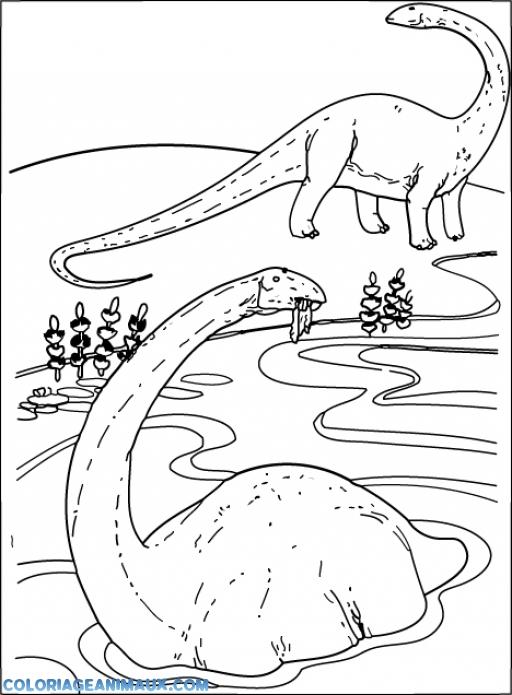 Coloriage diplodocus dans l 39 eau imprimer - Dessin diplodocus ...