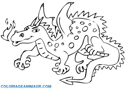 Coloriage dragon qui crache du feu imprimer - Dessin facile de dragon ...