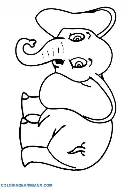 Coloriages de livre de la jungle dessin elephant de face - Dessin d un elephant ...