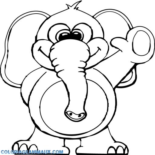 coloriage éléphant fait coucou pour enfants