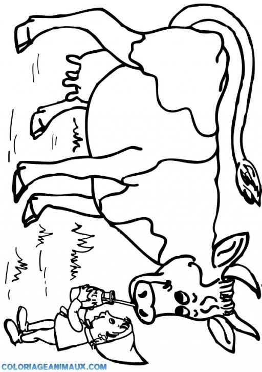 coloriage enfant qui donne du lait à une vache pour enfants