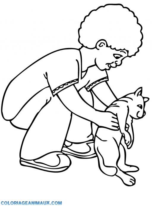coloriages domestique coloriage garon joue avec un chat pour enfants - Coloriage Garcon