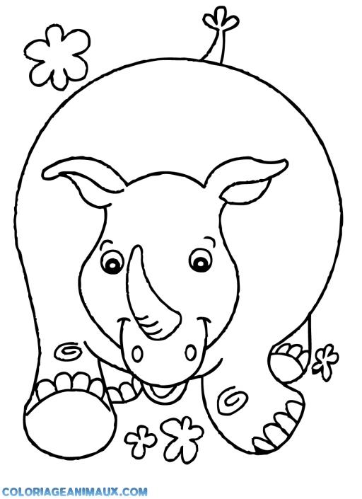 coloriage gros rhinocèros qui court pour enfants
