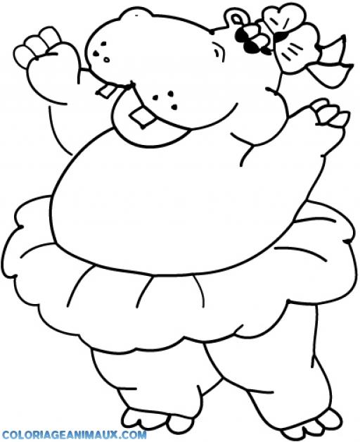 Coloriage hippopotame avec une jupe imprimer - Coloriage hippopotame ...