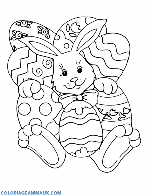 coloriage Lapin avec des oeufs de pâques pour enfants