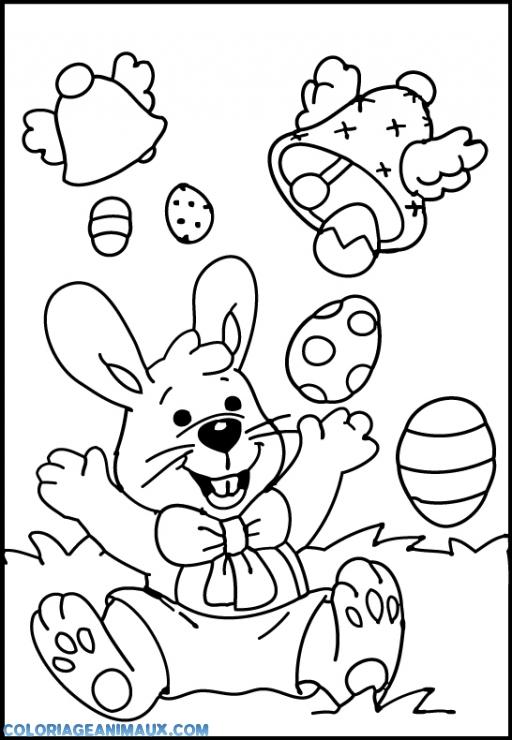Coloriage lapin de p ques heureux imprimer - Coloriage paques maternelle ...