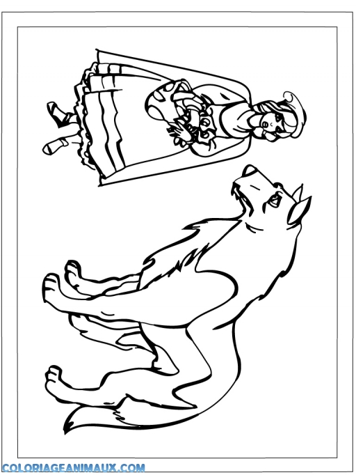 coloriage loup et la filette pour enfants