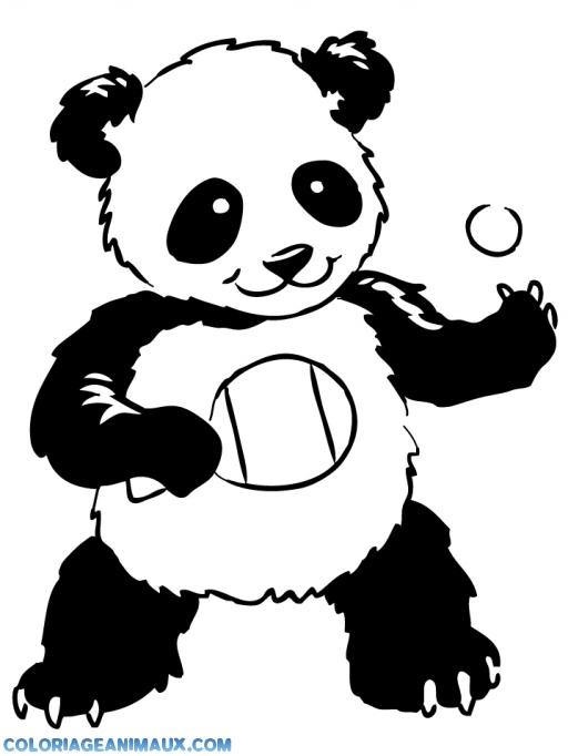 coloriage ours qui joue au ping pong pour enfants