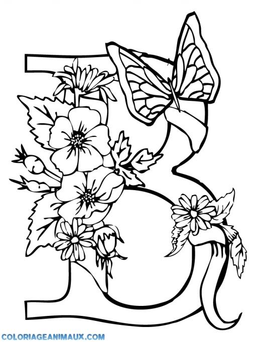 Coloriage Coccinelle Et Papillon.Coloriage Papillon Avec Des Fleurs A Imprimer