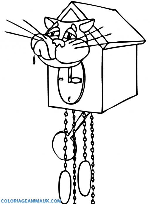 coloriage pendule avec une t234te de chat 224 imprimer