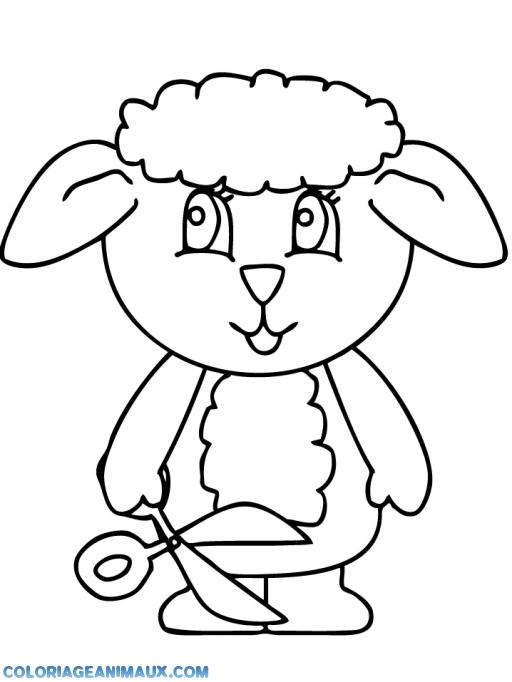 coloriage petit agneau avec une paire de ciseaux pour enfants