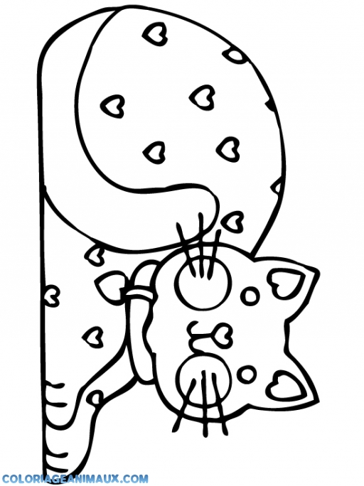Coloriage petit chat avec des coeurs imprimer - Dessin avec des coeurs ...