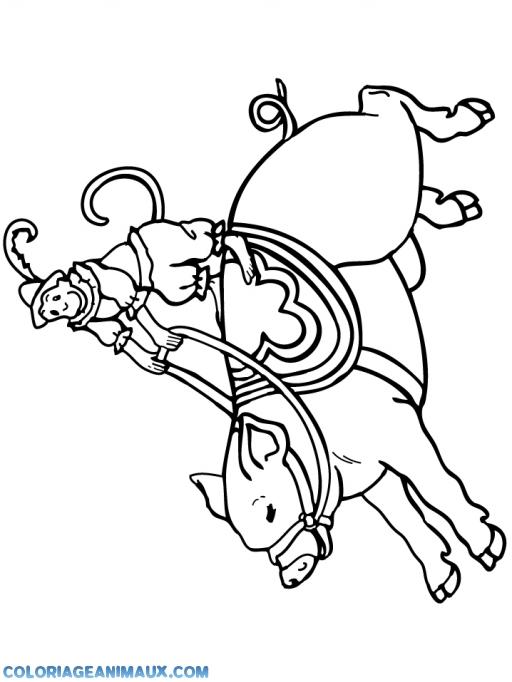Coloriage petit singe s 39 amuse sur un cochon imprimer - Coloriage petit singe ...