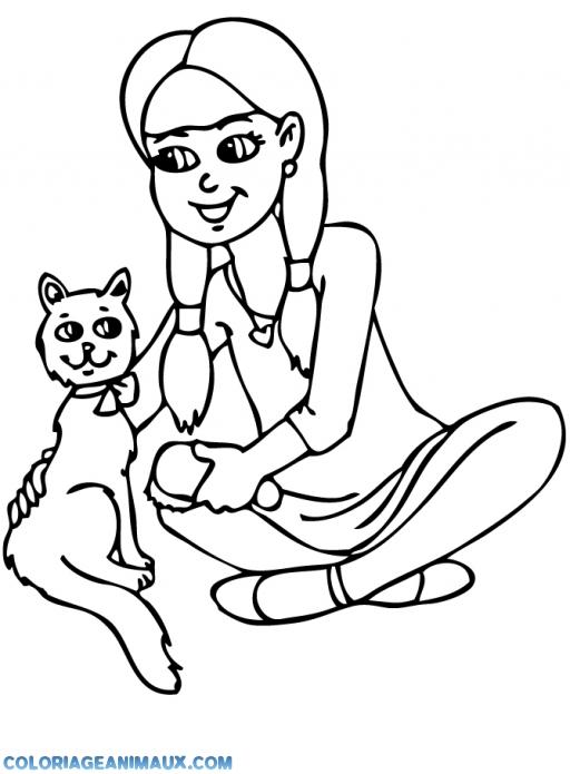 Coloriage Petite Fille Qui Brosse Un Chat A Imprimer