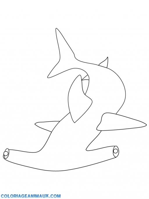 Coloriage requin marteau dans l 39 oc an imprimer - Dessin de marteau ...