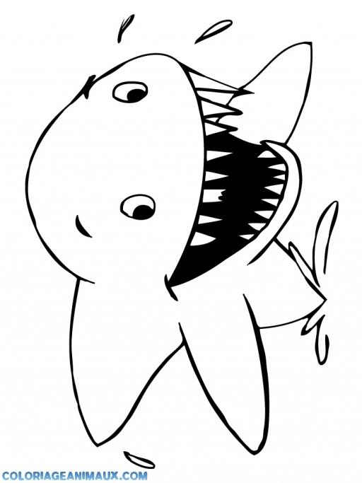 coloriage requin tout étonné pour enfants
