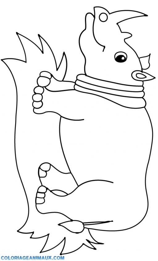 coloriage rhinocéros debout sur un tas de feuille pour enfants