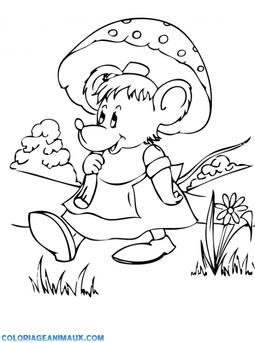 coloriage souris sous un parapluie pour enfants