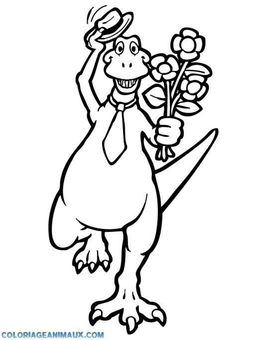 Coloriage tyrannosaure avec des fleurs imprimer - Dessin de tyrannosaure ...