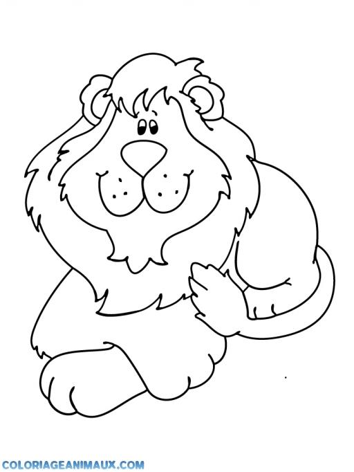 coloriage un beau lion regarde dans tes yeux pour enfants