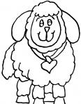 agneau avec un colier en forme de coeur