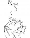araignées jouent au cerf-volant