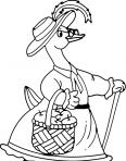 canard avec un panier de pommes