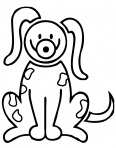 chien content avec une drole de tête