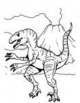 dinosaure devant un volcan