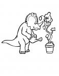 dinosaure qui arrose une plante