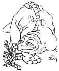dinosaure respire des fleurs