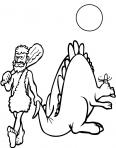 dinosaure stegosaure et un homme préhistoric
