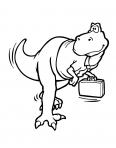 dinosaure T-rex avec une valise