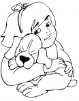 jeune fille caresse un chien