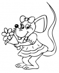 jolie souris avec des fleurs