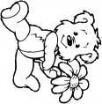 ours tient une fleure