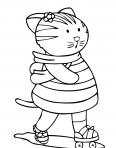 petite chatte qui fait du roller